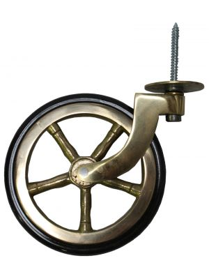 Brass Wagon Wheel Castor with Rubber Tyre
